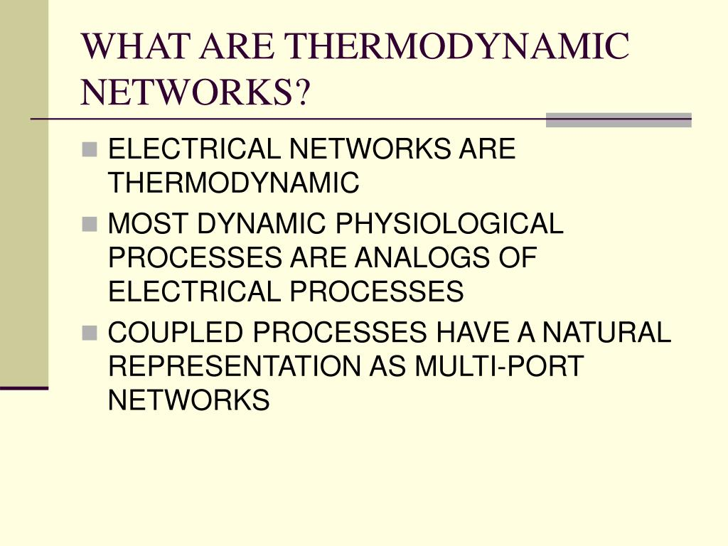 WHAT ARE THERMODYNAMIC NETWORKS?