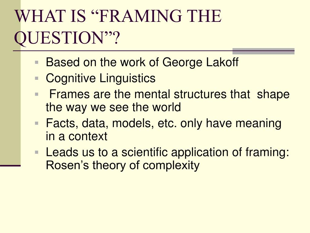 "WHAT IS ""FRAMING THE QUESTION""?"