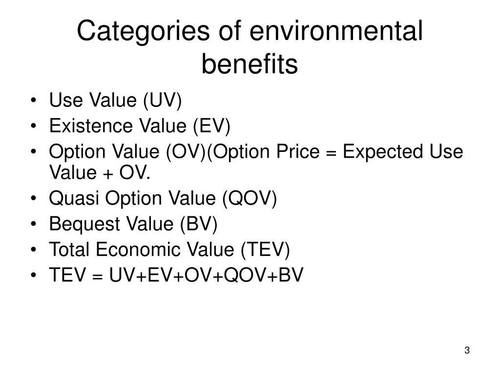 Categories of environmental benefits