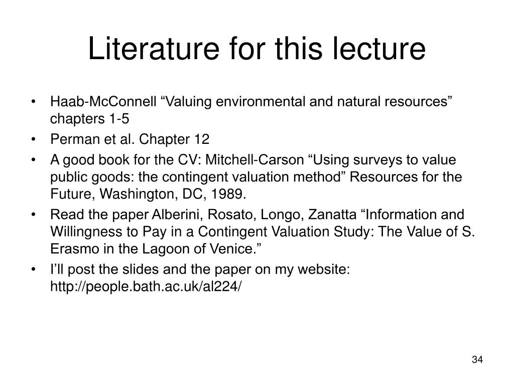Literature for this lecture