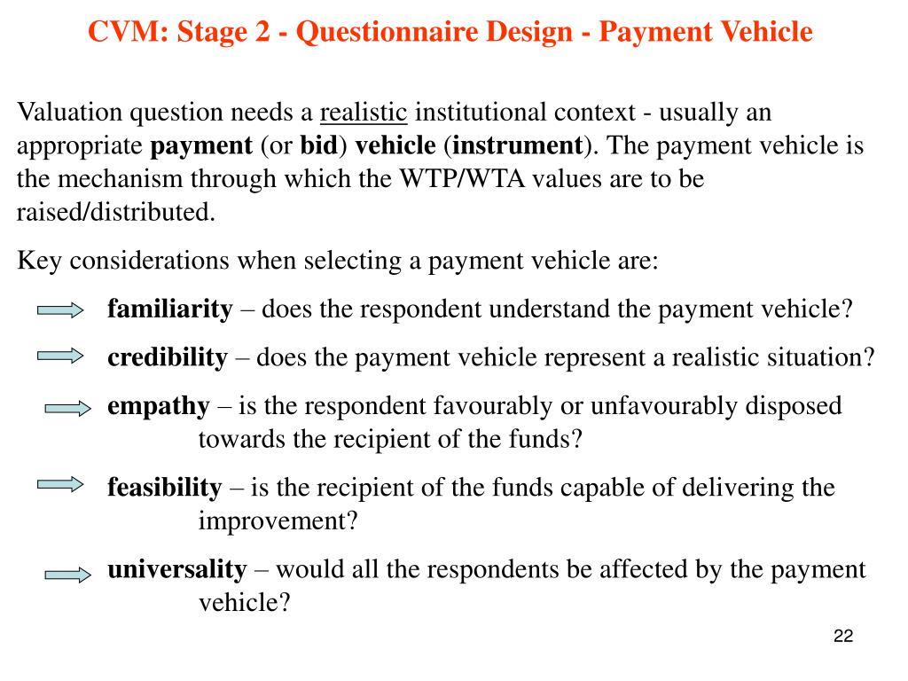 CVM: Stage 2 - Questionnaire Design - Payment Vehicle