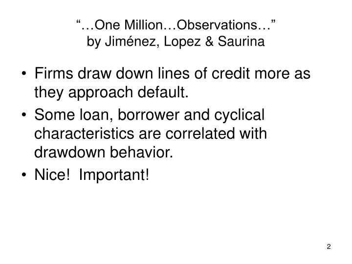 One million observations by jim nez lopez saurina