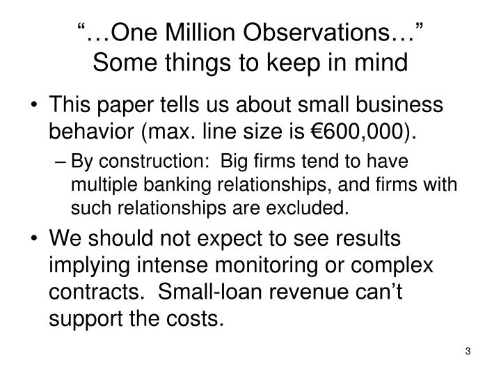 One million observations some things to keep in mind