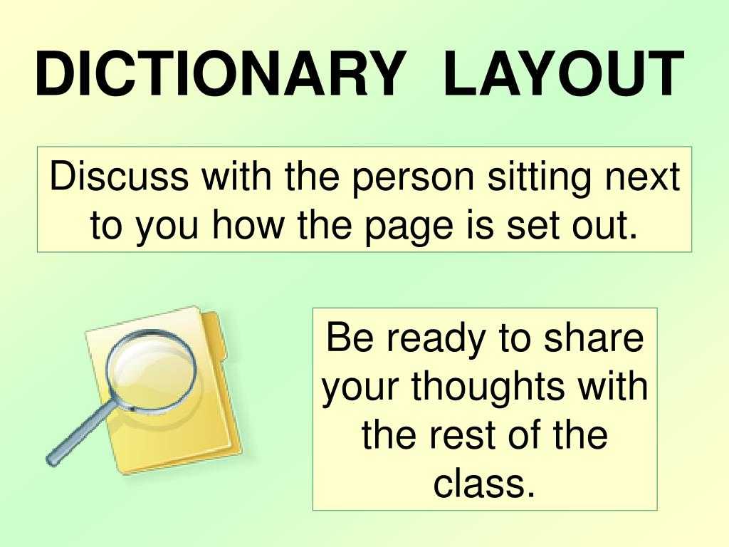 DICTIONARY  LAYOUT