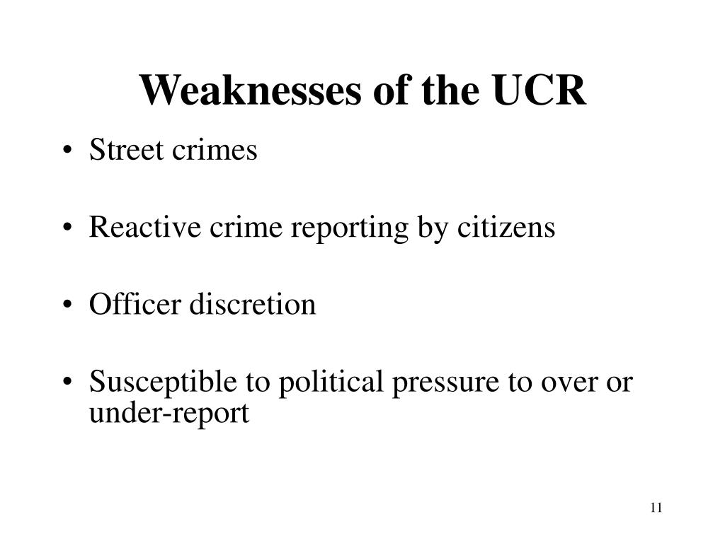Weaknesses of the UCR