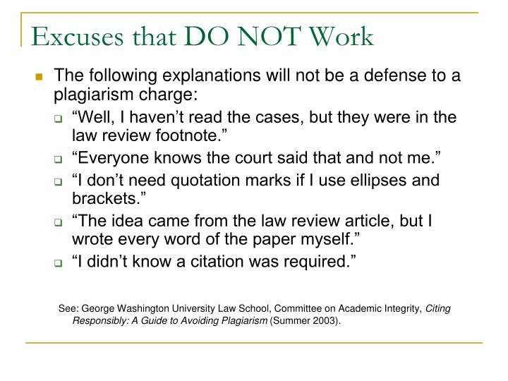 Excuses that DO NOT Work