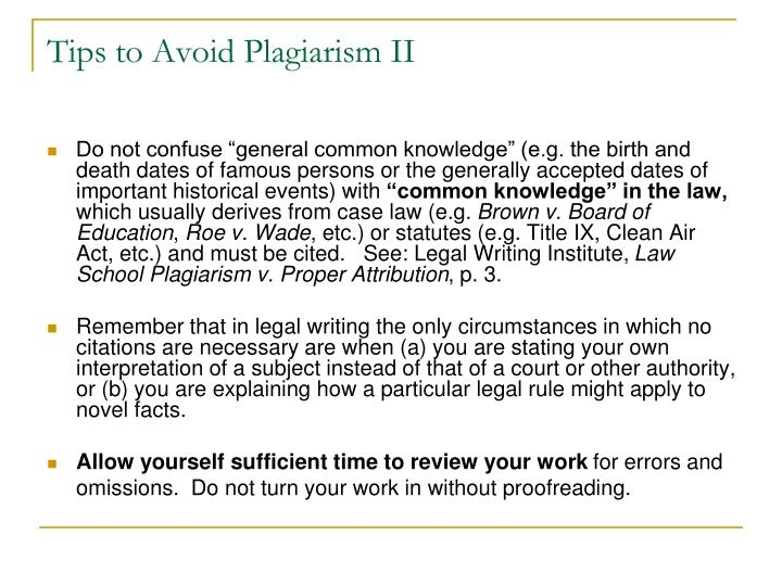 Tips to Avoid Plagiarism II