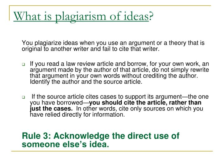 What is plagiarism of ideas