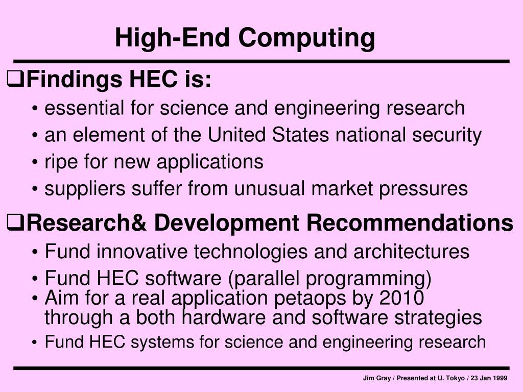 High-End Computing