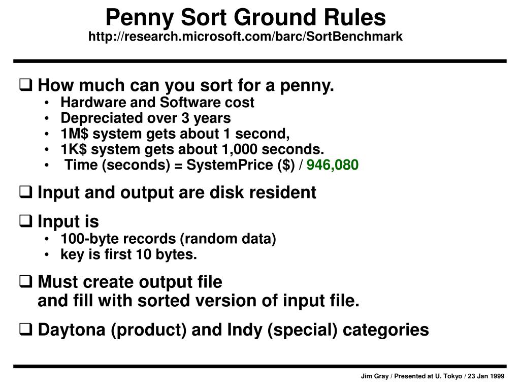 Penny Sort Ground Rules