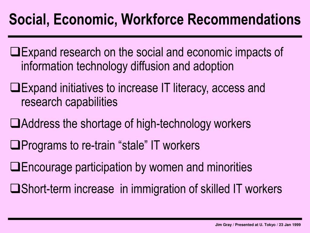 Social, Economic, Workforce Recommendations