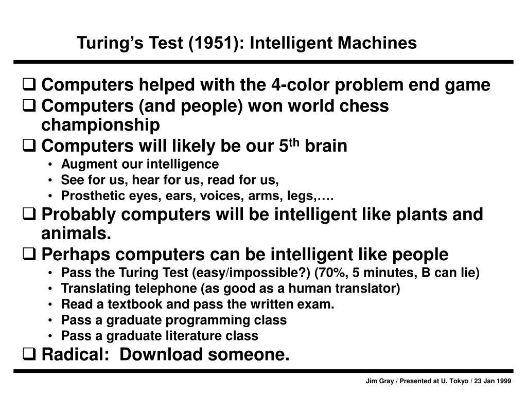 Turing's Test (1951): Intelligent Machines