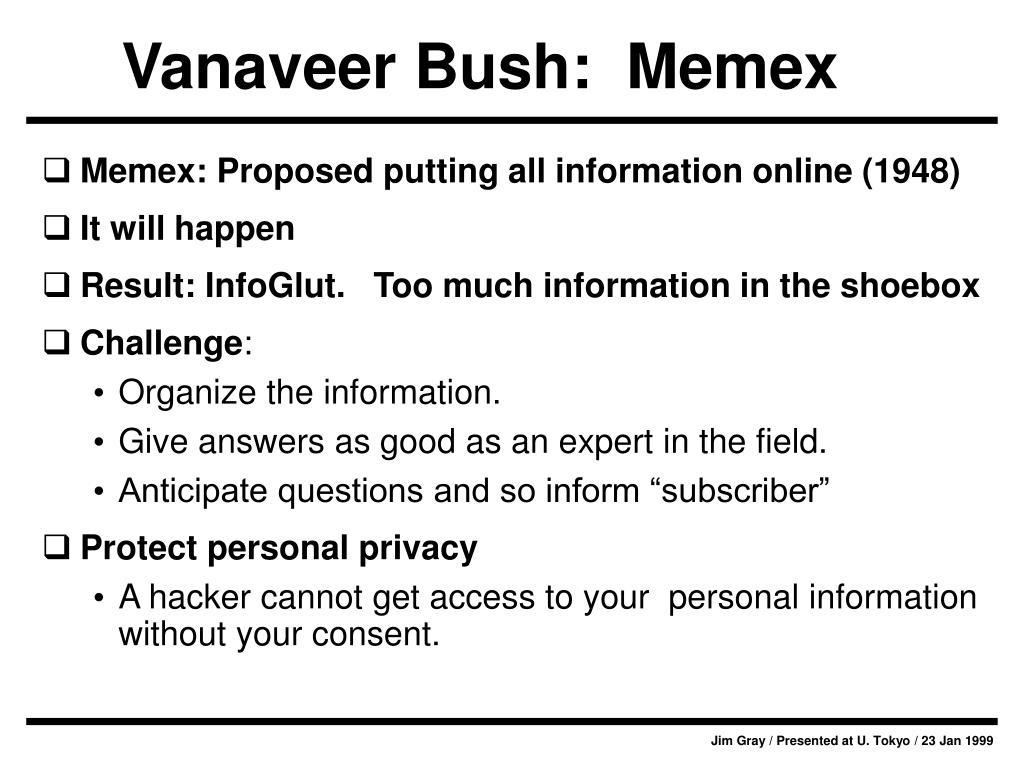 Vanaveer Bush:  Memex