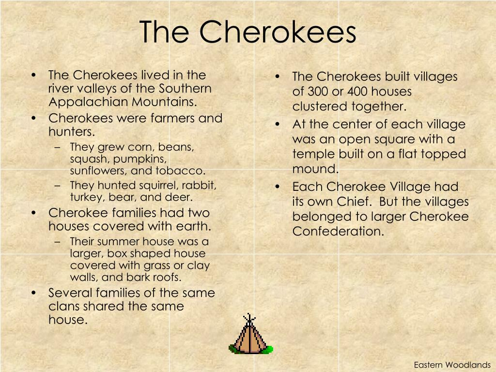 The Cherokees lived in the river valleys of the Southern Appalachian Mountains.
