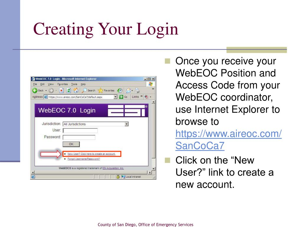 Creating Your Login