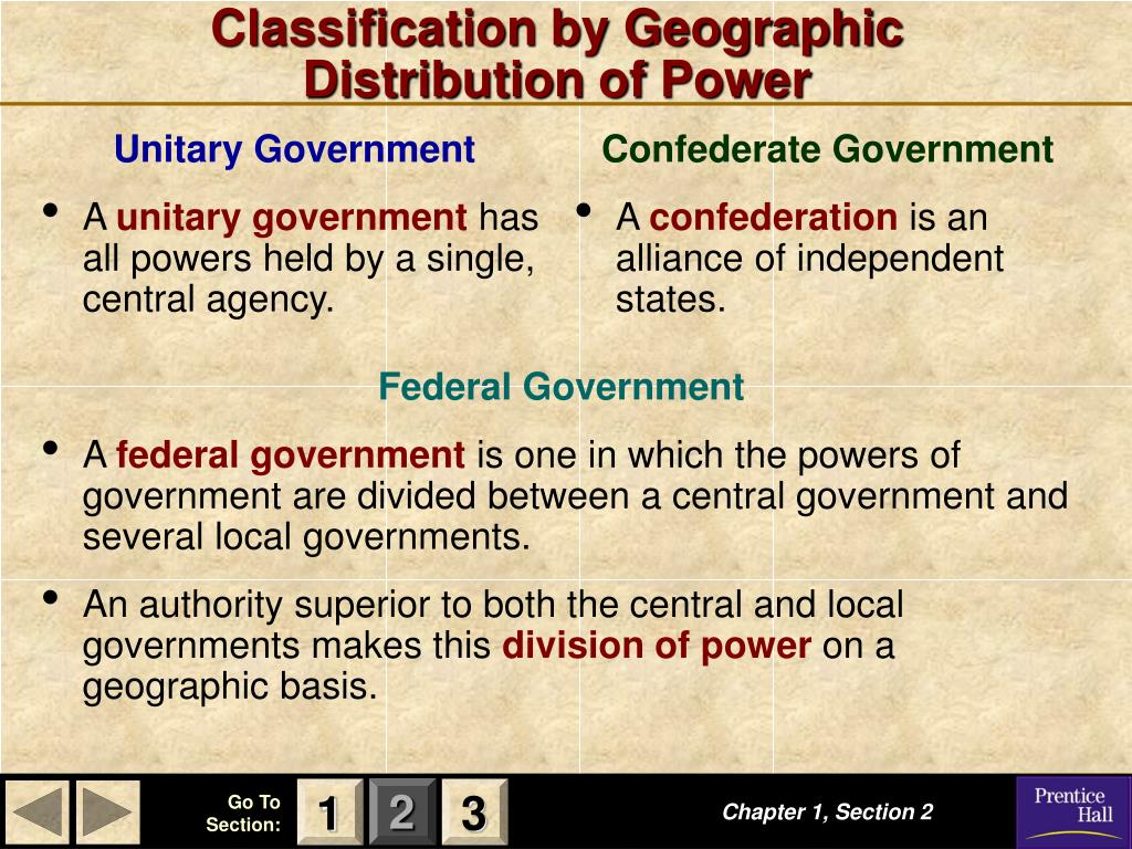 Classification by Geographic    Distribution of Power