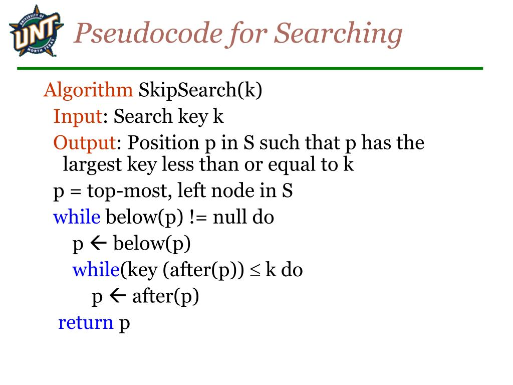Pseudocode for Searching