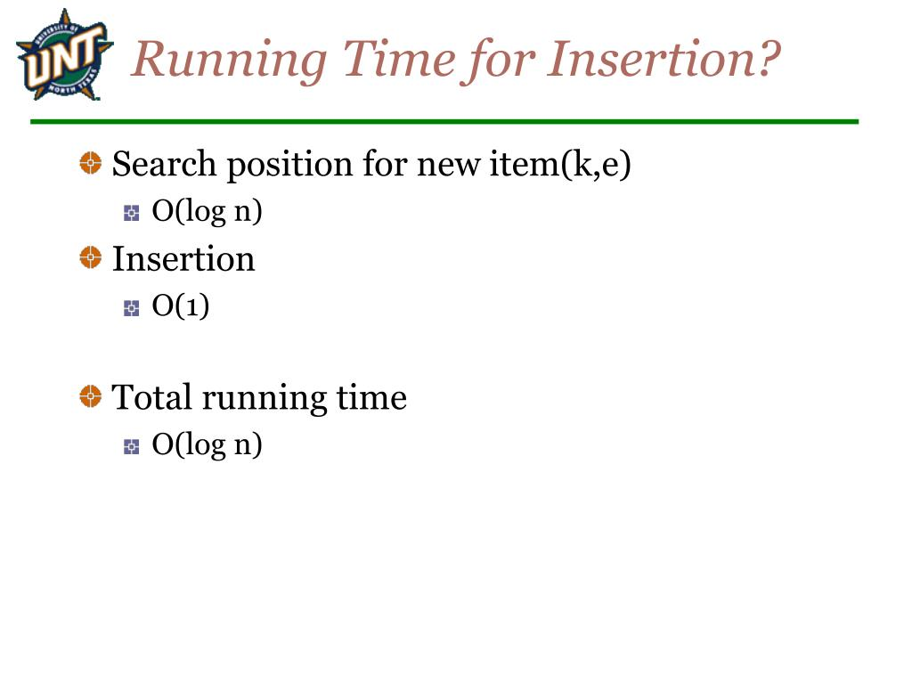 Running Time for Insertion?