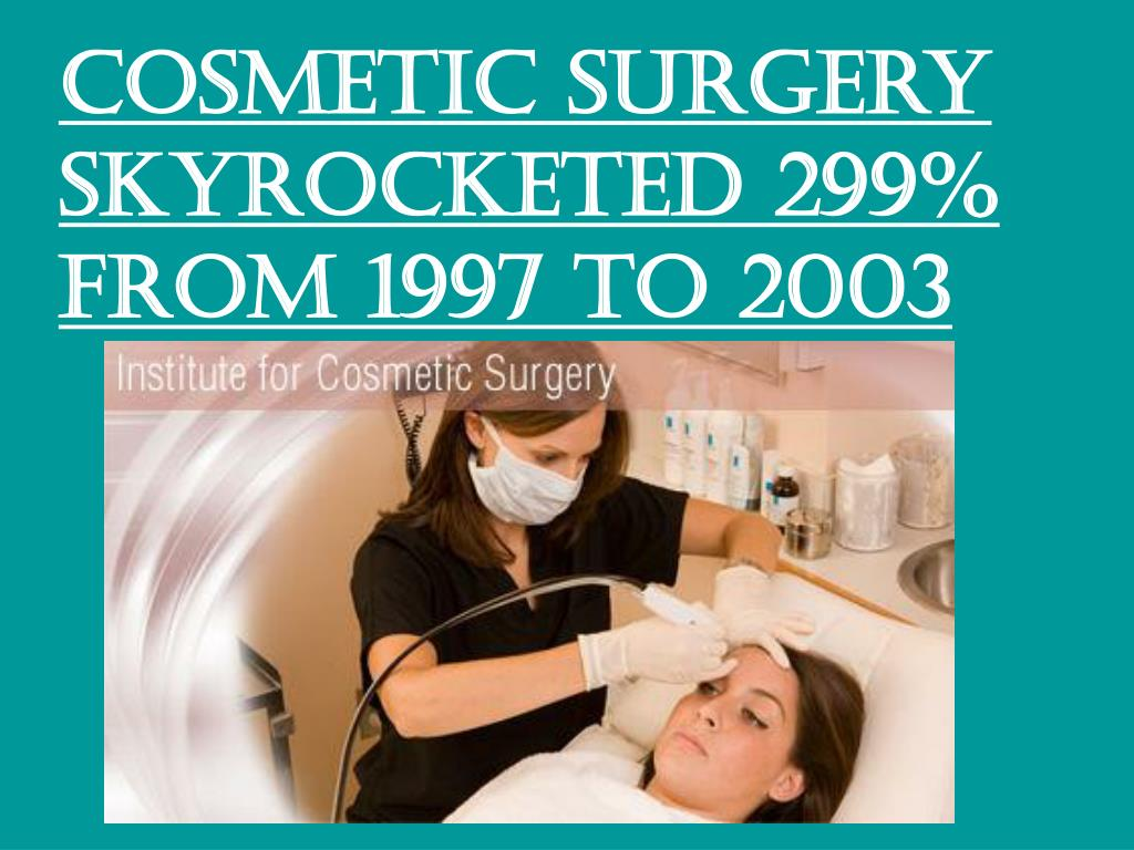 Cosmetic surgery skyrocketed 299% from 1997 to 2003