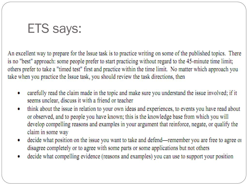 ETS says:
