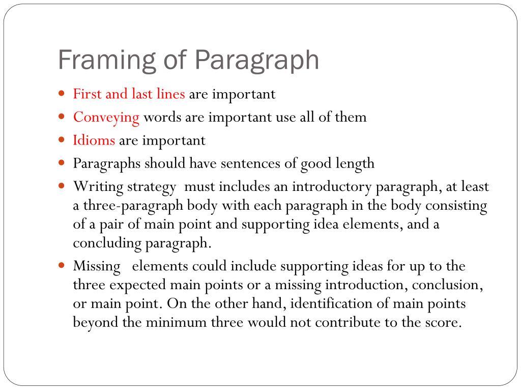 Framing of Paragraph