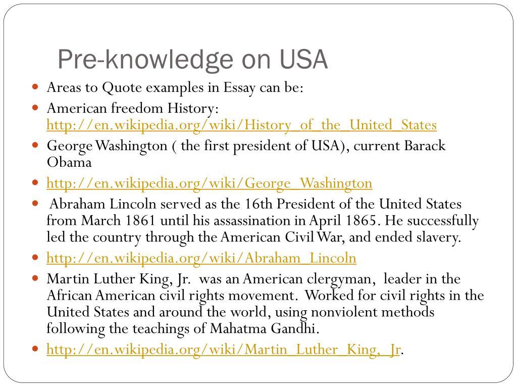 Pre-knowledge on USA