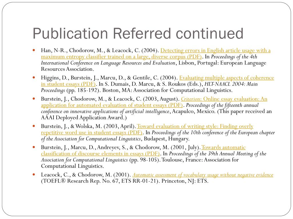 Publication Referred continued