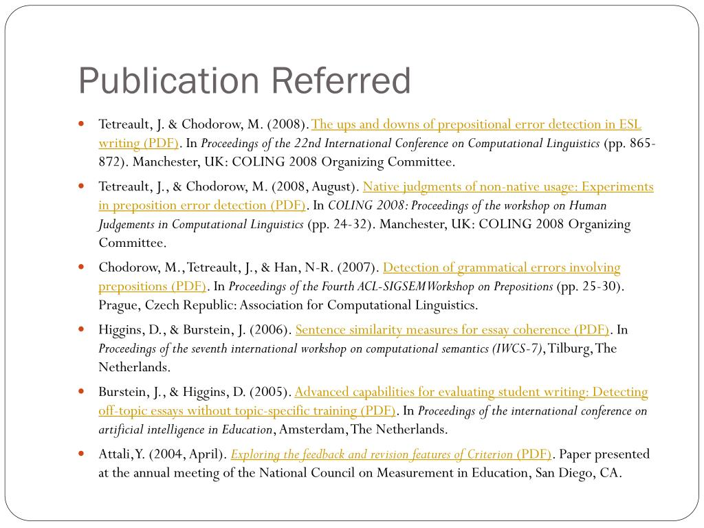 Publication Referred
