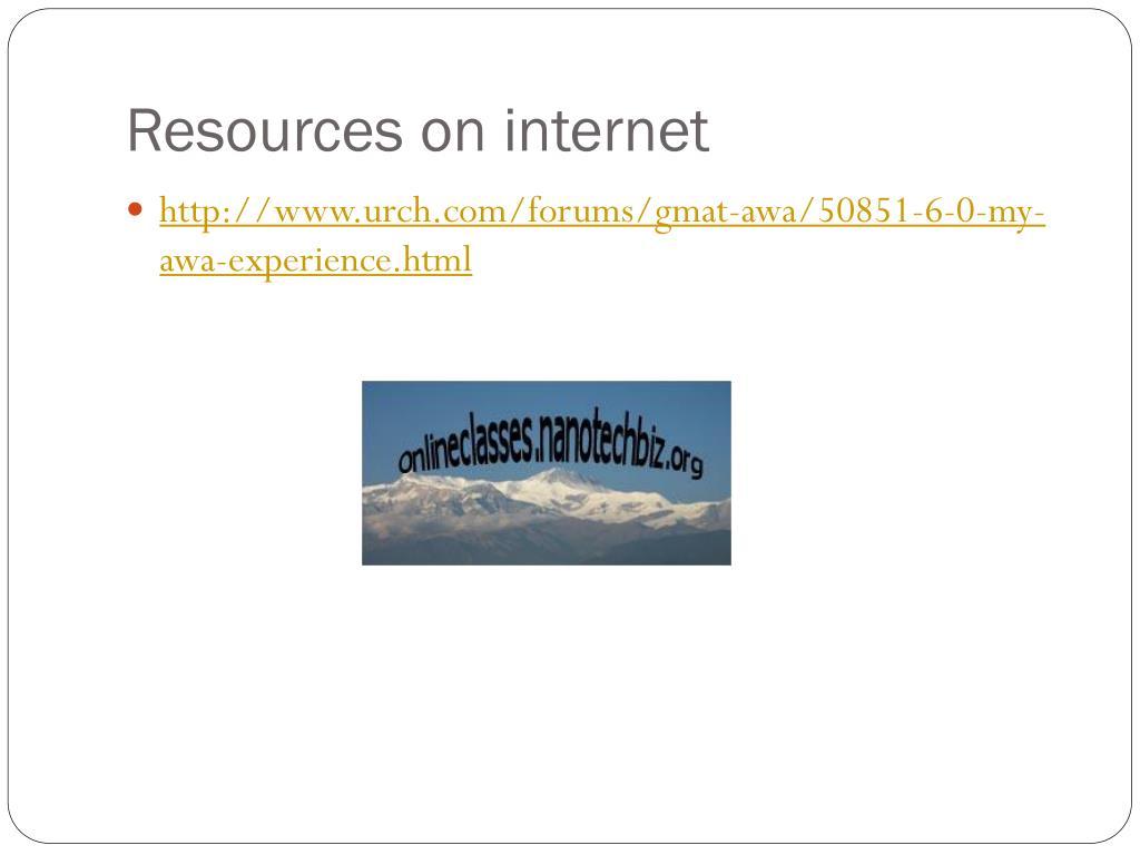 Resources on internet