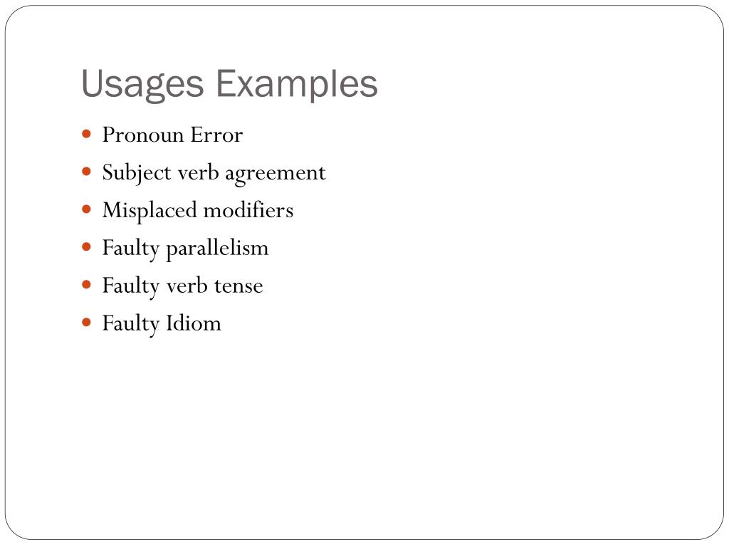 Usages Examples