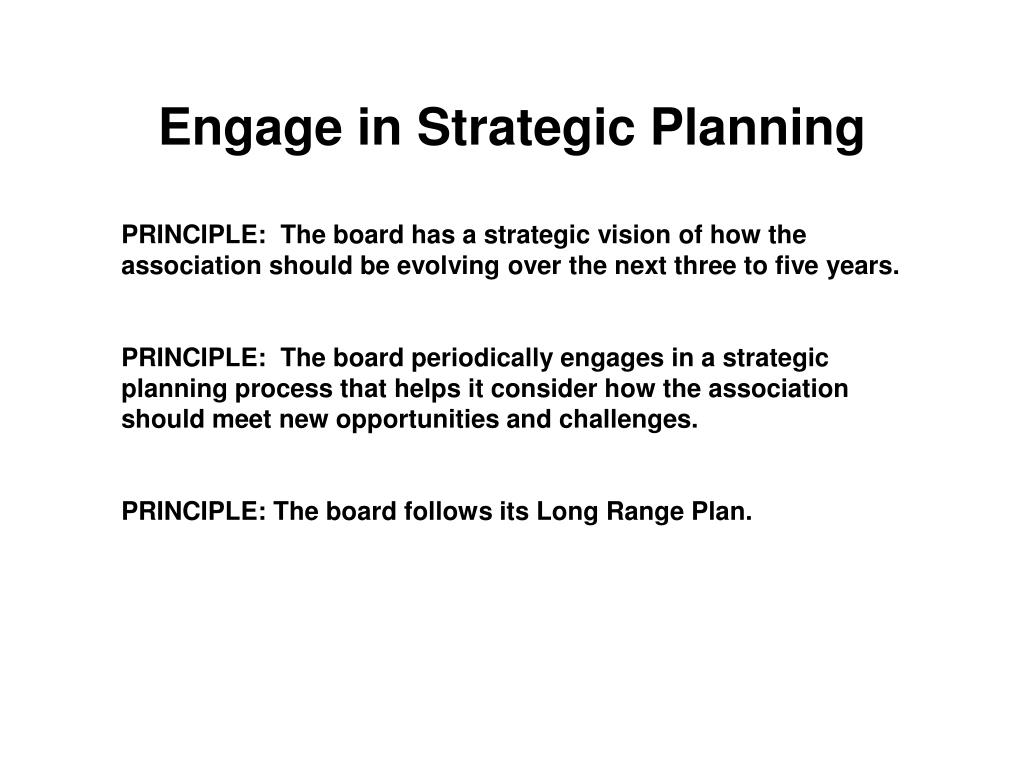 Engage in Strategic Planning