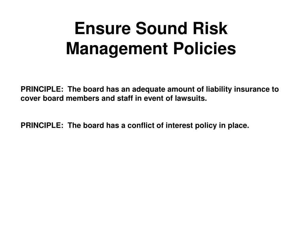 Ensure Sound Risk