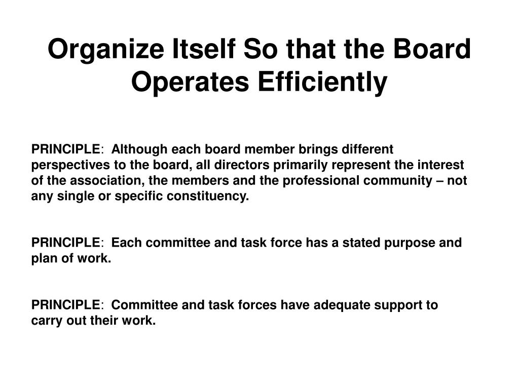 Organize Itself So that the Board Operates Efficiently