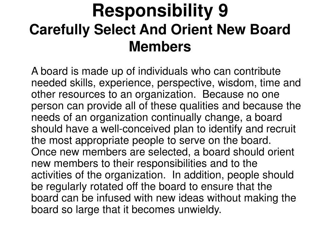 Responsibility 9