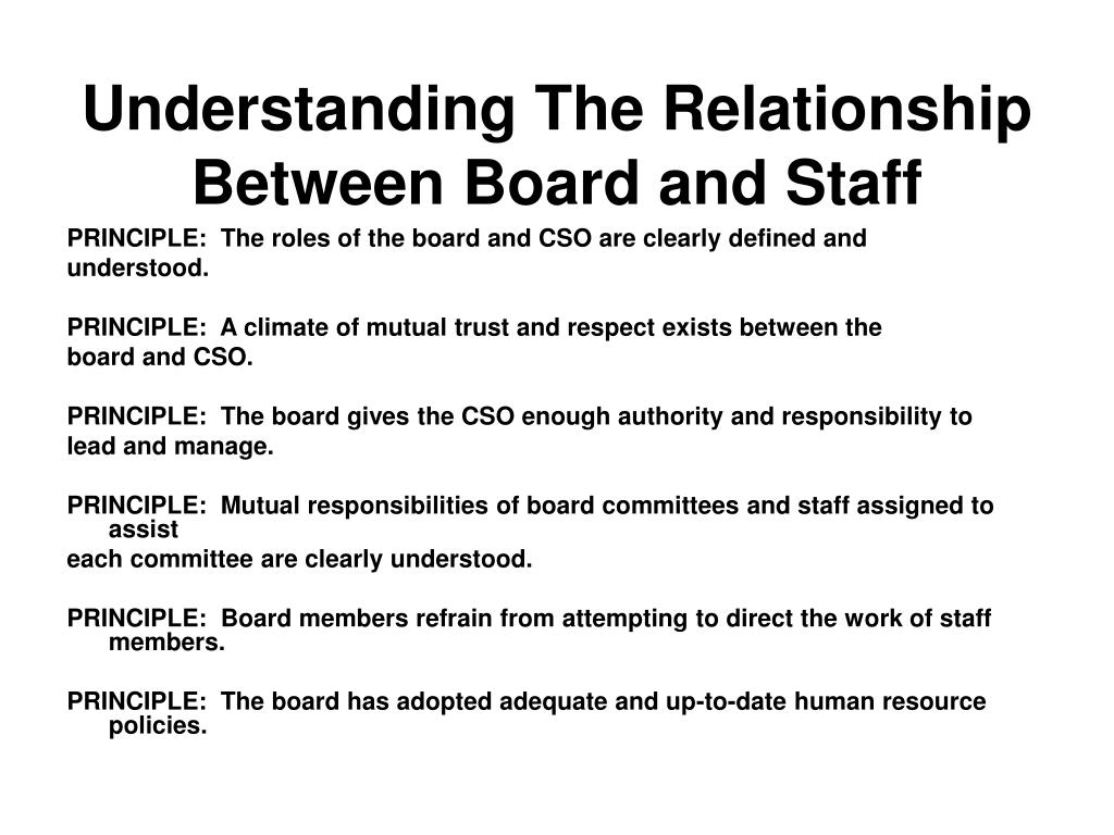 PRINCIPLE:  The roles of the board and CSO are clearly defined and