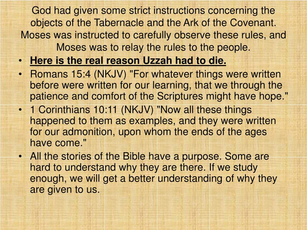 God had given some strict instructions concerning the objects of the Tabernacle and the Ark of the Covenant. Moses was instructed to carefully observe these rules, and Moses was to relay the rules to the people.