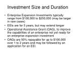 investment size and duration