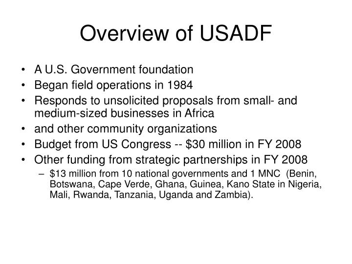 Overview of usadf
