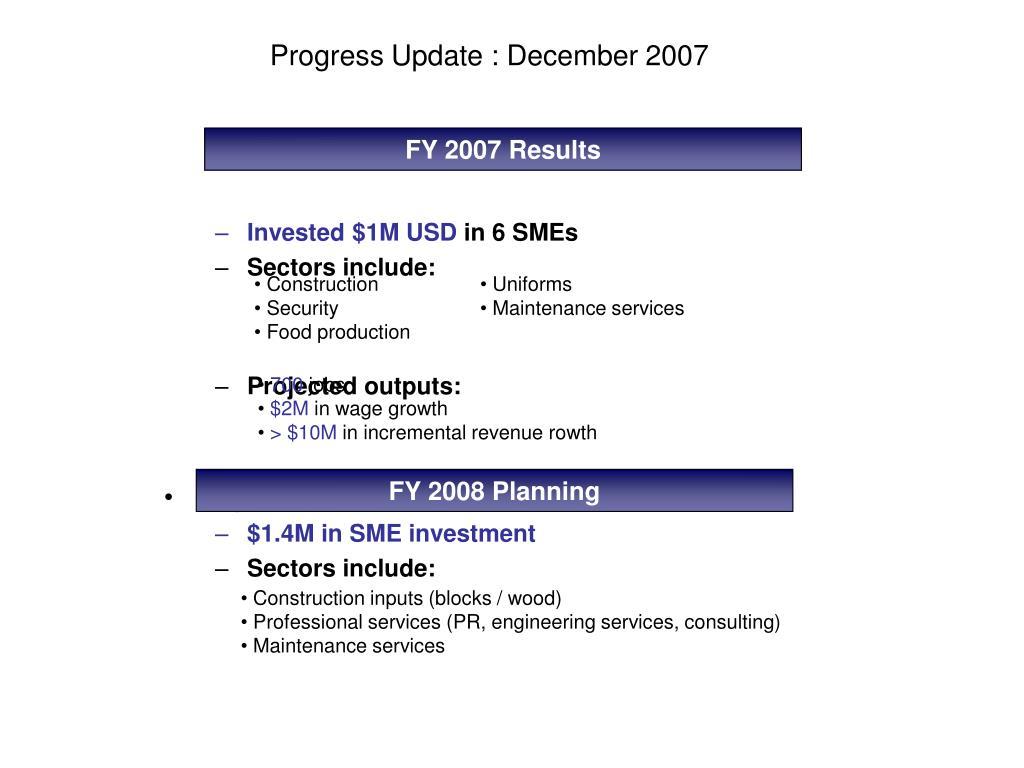 Progress Update : December 2007