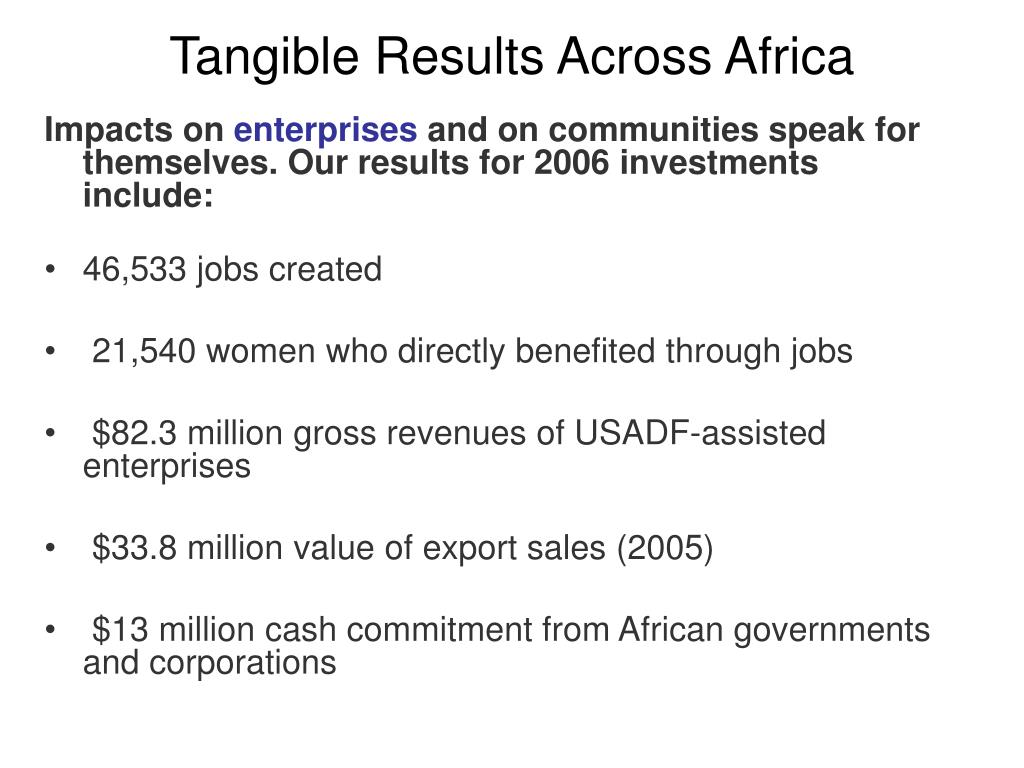 Tangible Results Across Africa