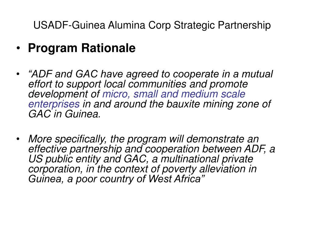 USADF-Guinea Alumina Corp Strategic Partnership