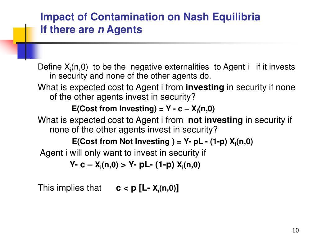Impact of Contamination on Nash Equilibria