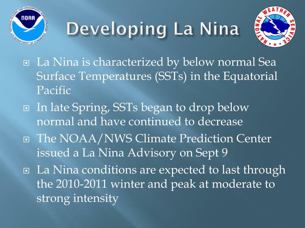 Developing La Nina