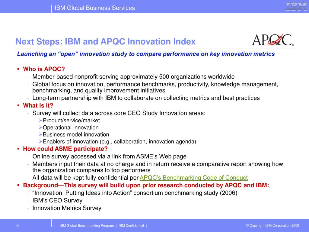 Next Steps: IBM and APQC Innovation Index