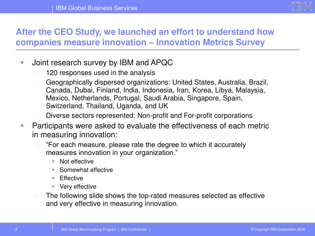 After the CEO Study, we launched an effort to understand how companies measure innovation – Innovation Metrics Survey