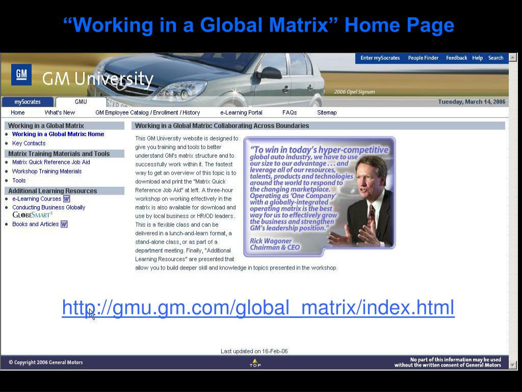 """""""Working in a Global Matrix"""" Home Page"""