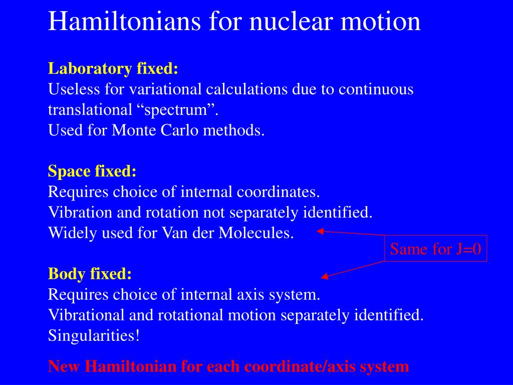 Hamiltonians for nuclear motion