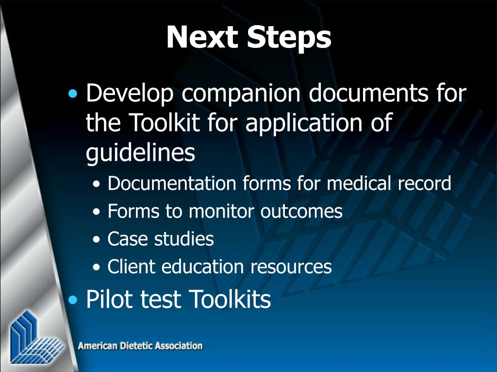 Develop companion documents for the Toolkit for application of guidelines