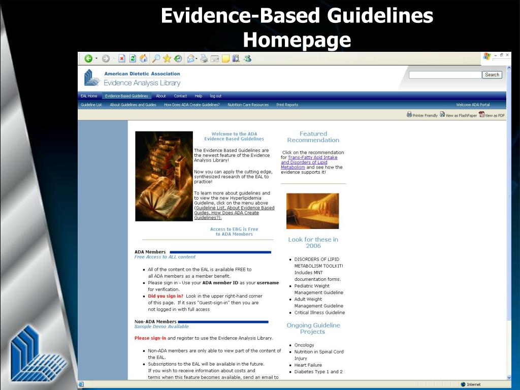 Evidence-Based Guidelines Homepage