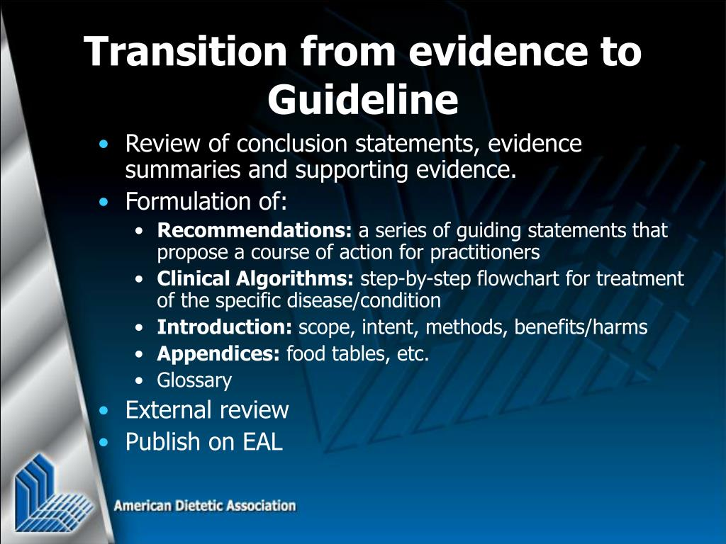 Review of conclusion statements, evidence summaries and supporting evidence.